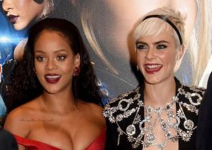 La graciosa reacción de Cara Delevingne por el escote de Rihanna
