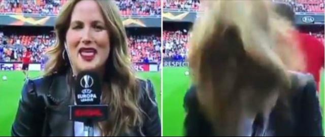 ¡Tremendo taponazo el que recibió esta periodista durante una transmisión!